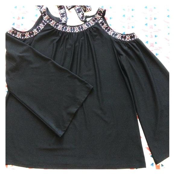 846a18c4289d05 Tops | Cold Shoulder Bell Sleeve Blouse | Poshmark